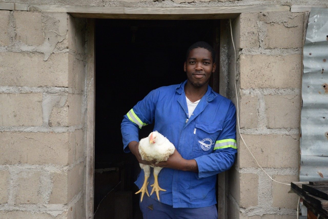 Sandiso Maghabi shows off one of his 50 chickens