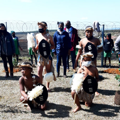 Lubisa Primary School traditional dance group performed the Jerusalema Dance, blending it with Zulu moves as part of their Arbor Day and Heritage month celebration
